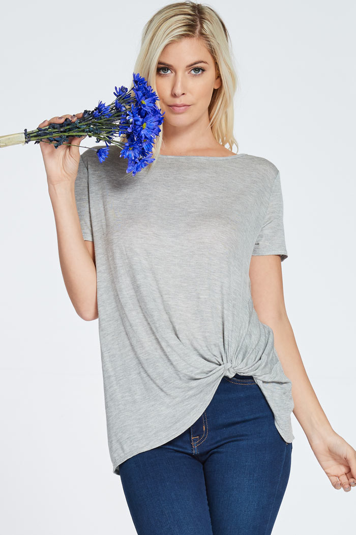HEATHER KNIT SCOOP NECK TOP