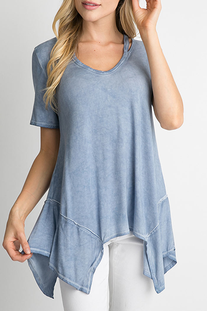 CUT OUT NECKLINE ASYMMETRICAL TOP