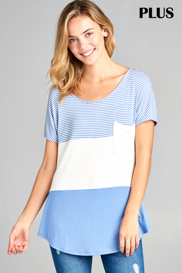 COLOR BLOCK POCKET JERSEY TOP