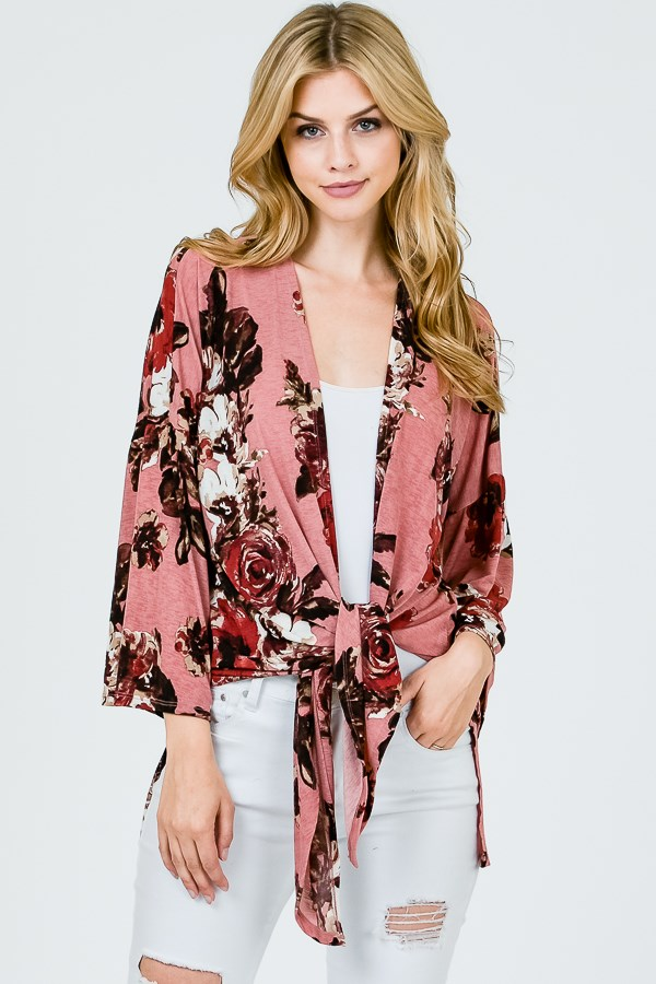 LARGE FLORAL BOXY CARDIGAN WITH FRONT TIE