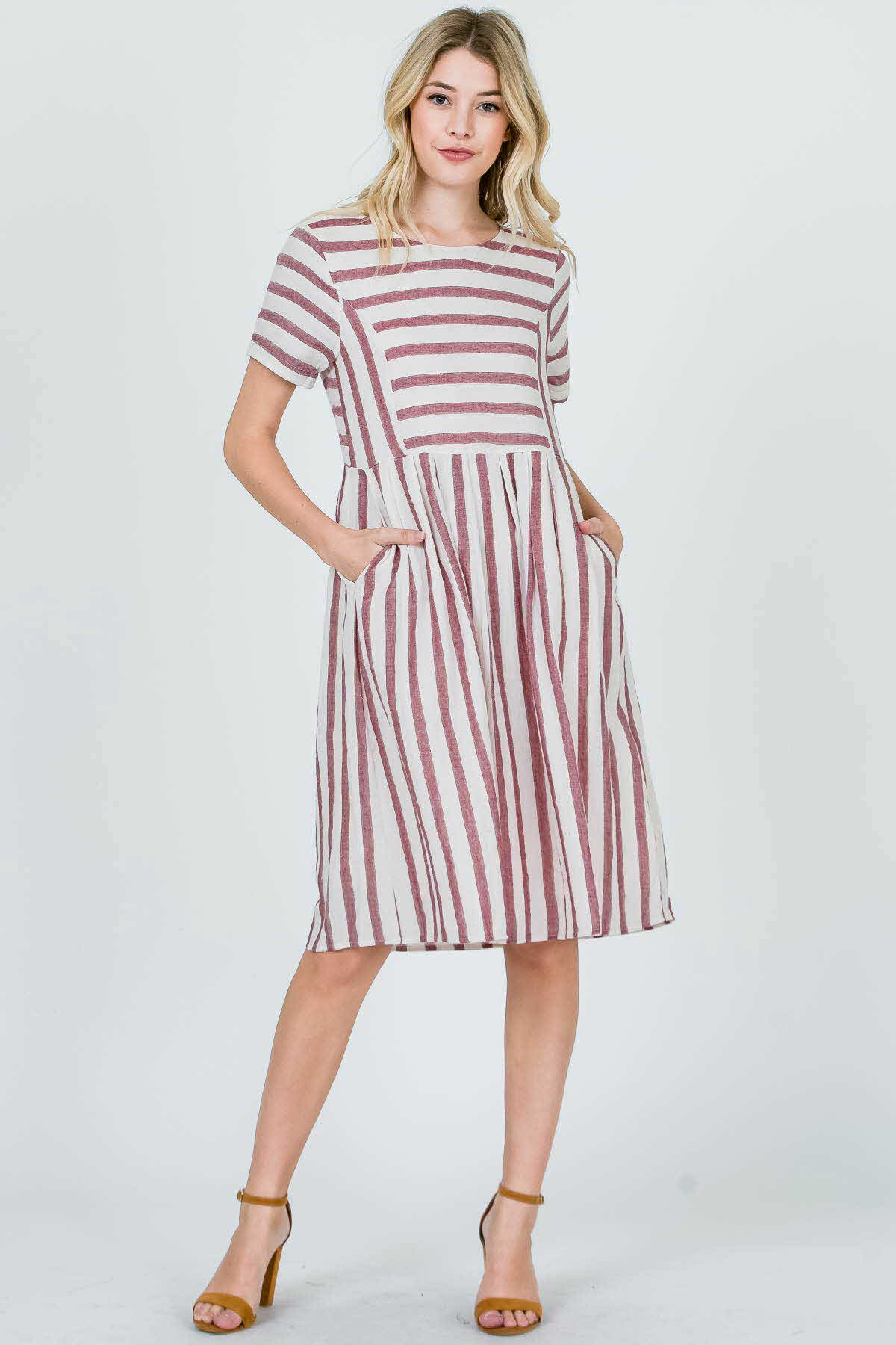 STRIPE FIT AND FLARE MIDI DRESS