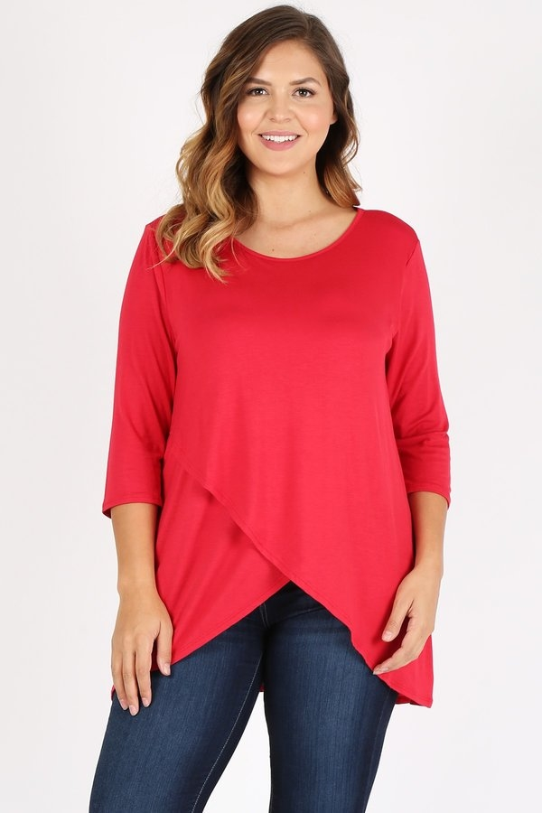 PLUS TULIP FRONT JERSEY TOP