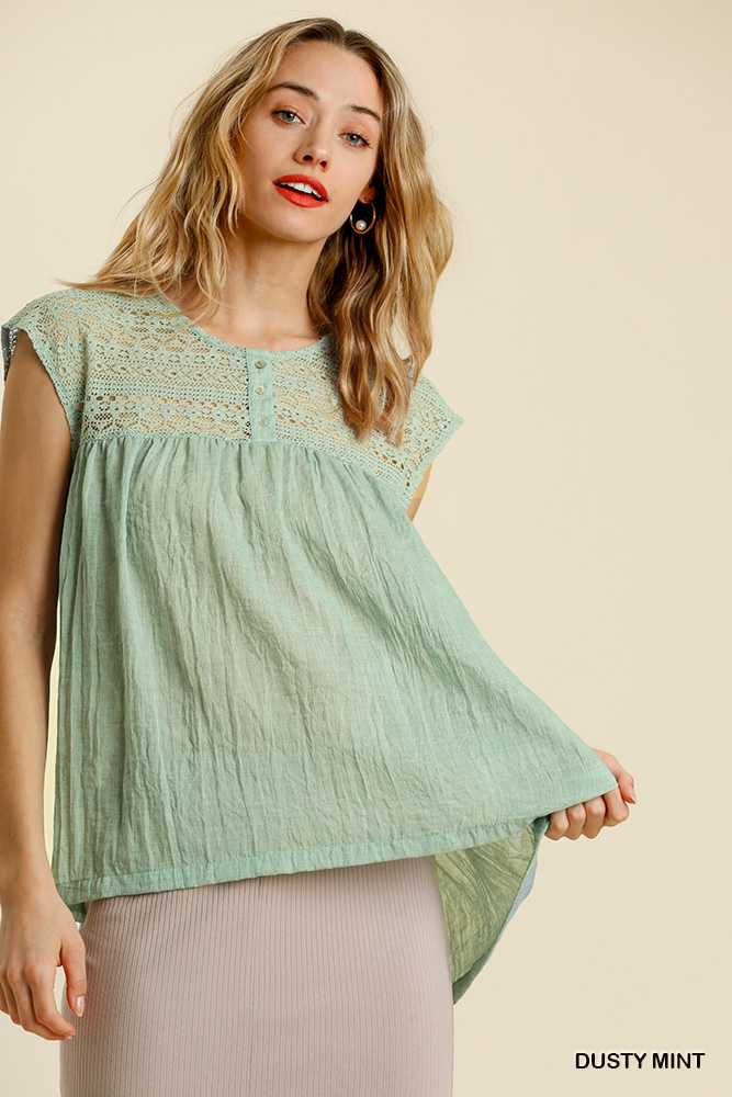 Lace Yoke Button Front Short Sleeve Babydoll Top