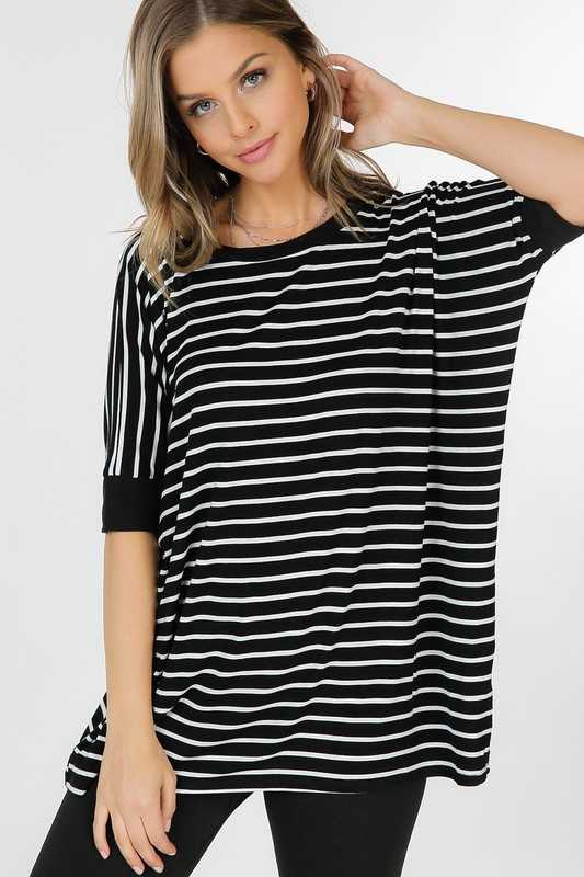 Striped Banded Short Sleeve Basic Casual Boxy Top