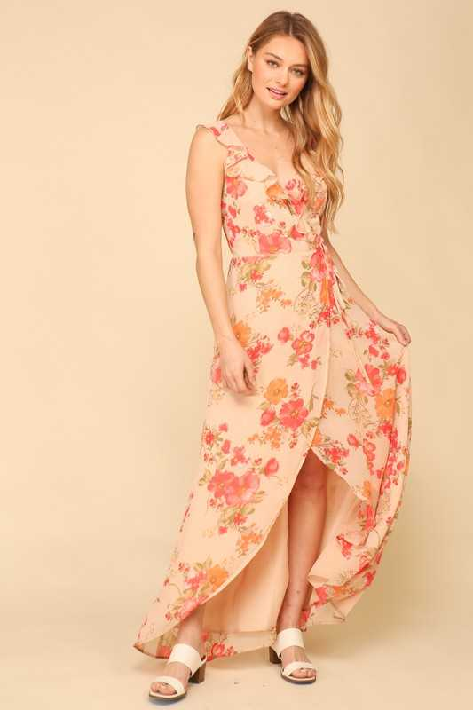 Floral Print Open Back Ruffle Maxi Dress