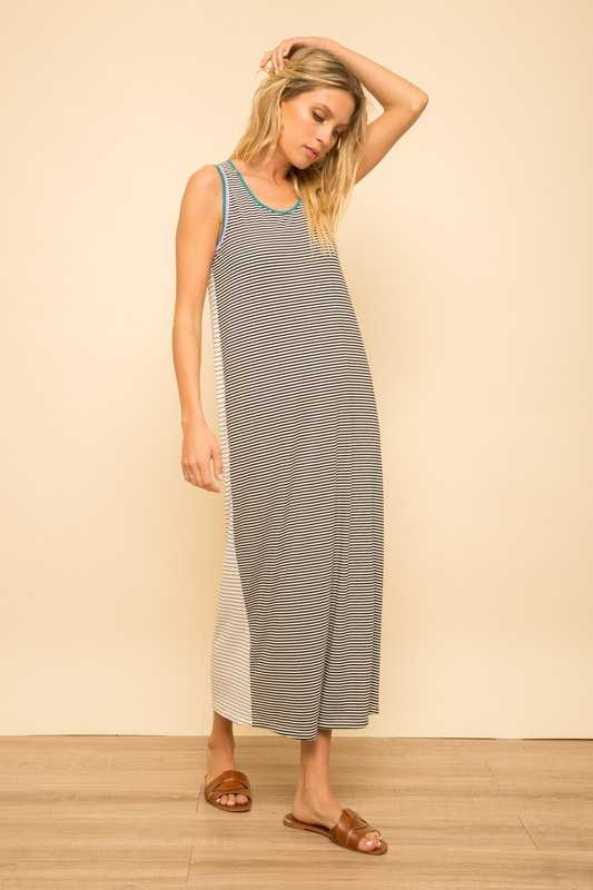 KNIT STRIPE TANK MAXI DRESS WITH DOUBLE BINDING