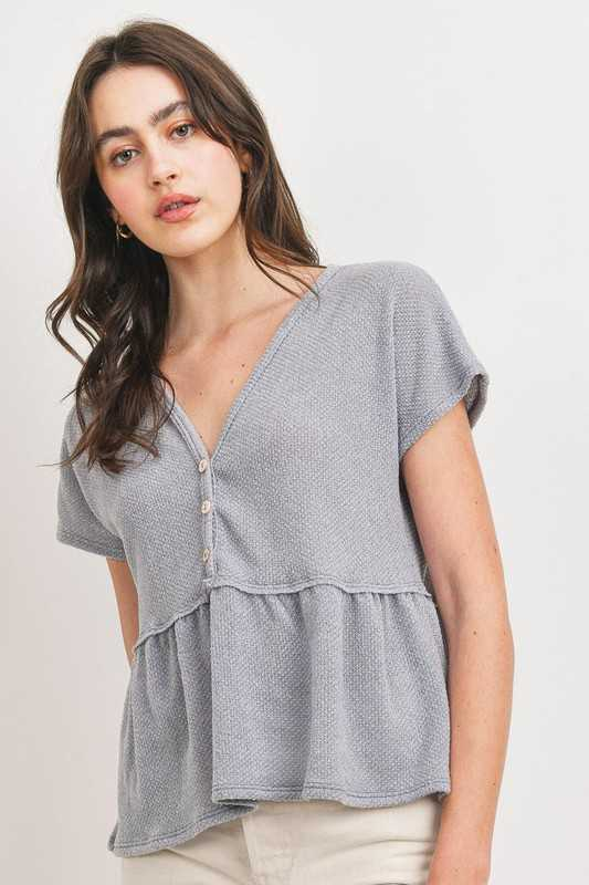 Textured Button Front Detail V-neck Top
