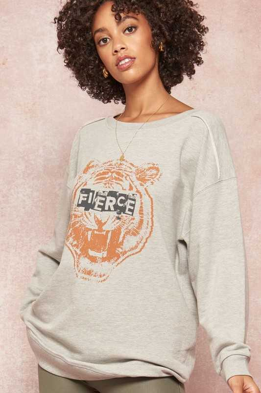 Fierce Tiger French Terry Graphic Tunic Sweatshirt