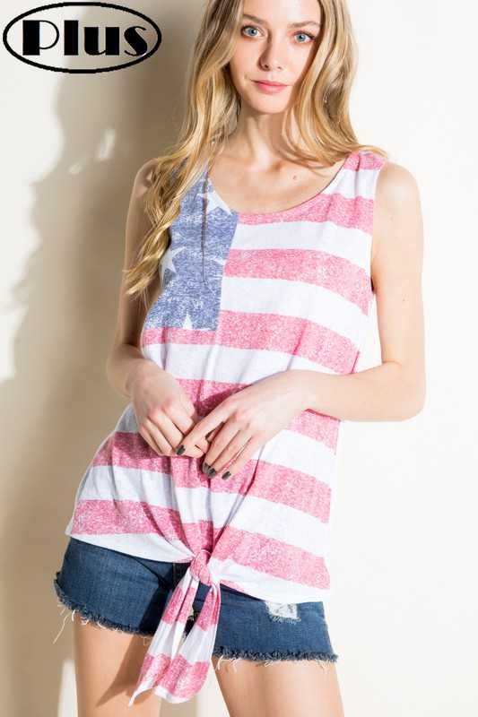 AMERICAN FLAG TIE FRONT PLUS TANK TOP