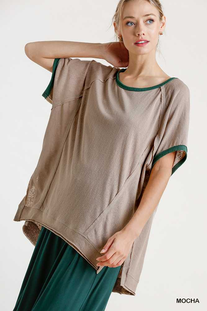 Contrast Collar and Sleeve End Raw Edged Detail Top