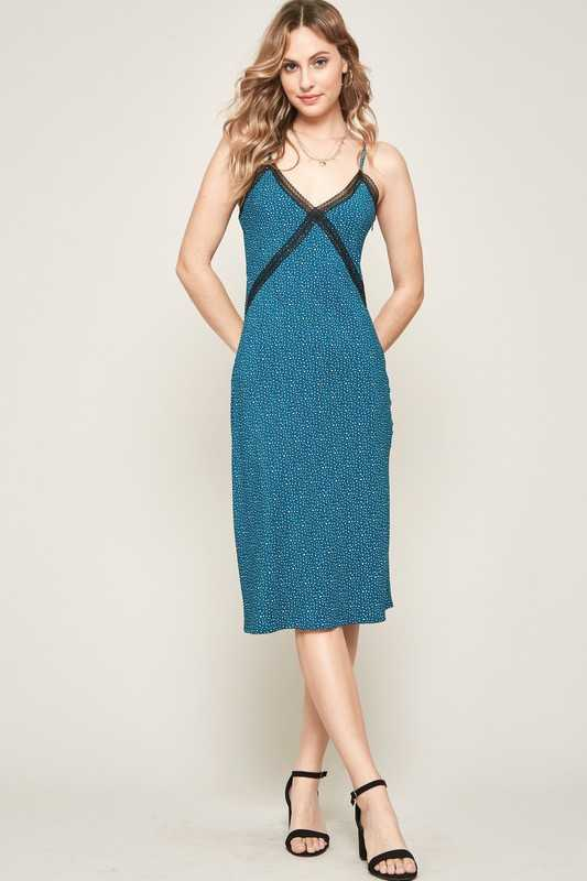 Teal Leopard Lace-Trimmed Midi Slip Dress