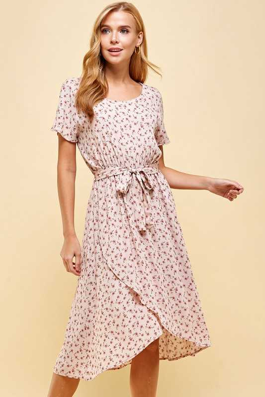 Floral Printed Dress with waist tie