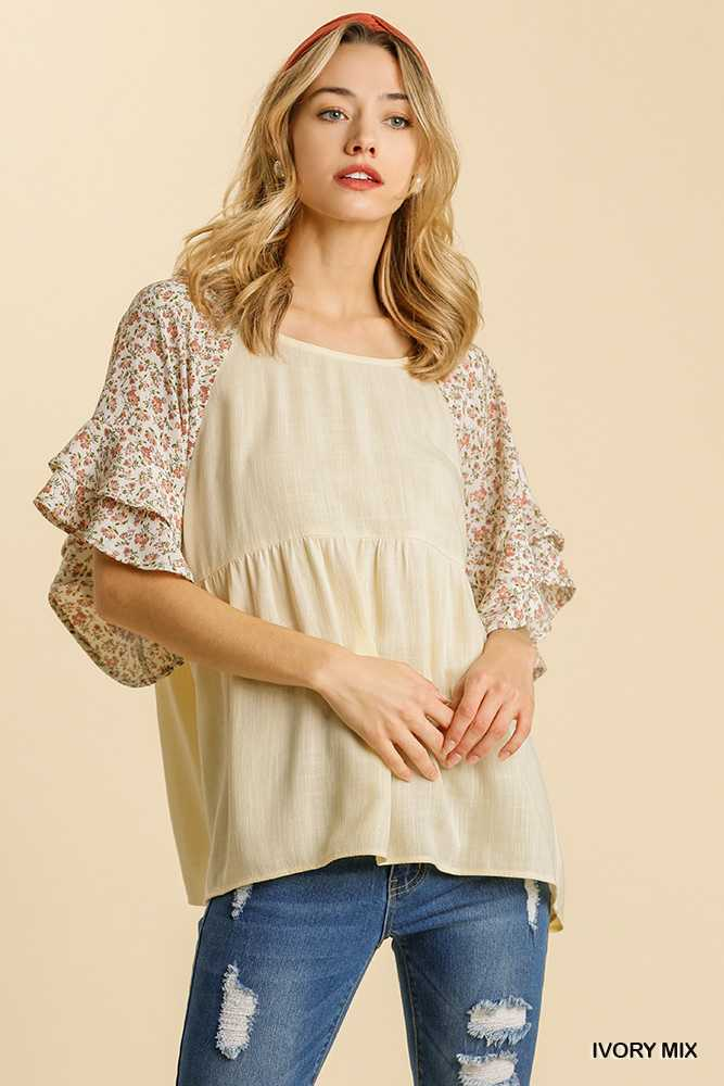 Floral Print Layered Ruffle Sleeve Babydoll Top