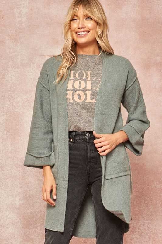 Knit Exposed-Seam Pocket Cardigan Sweater