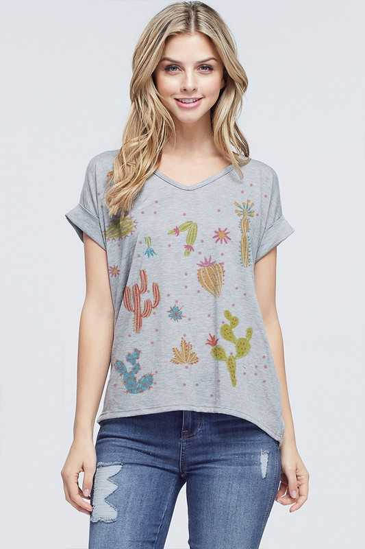 Cactus with dots v neck short sleeve top