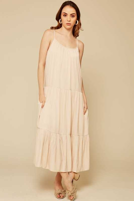 Round Neck Sleeveless Flare Maxi Dress