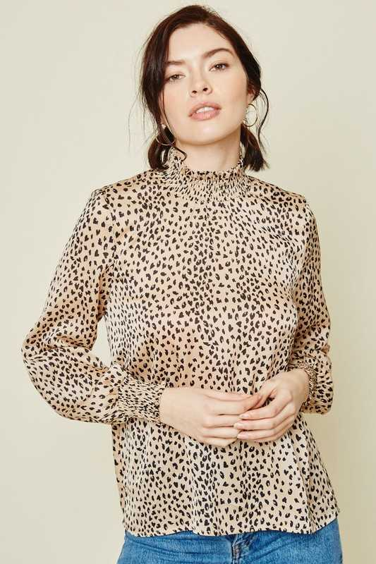 Cheetah Smock Neck Top