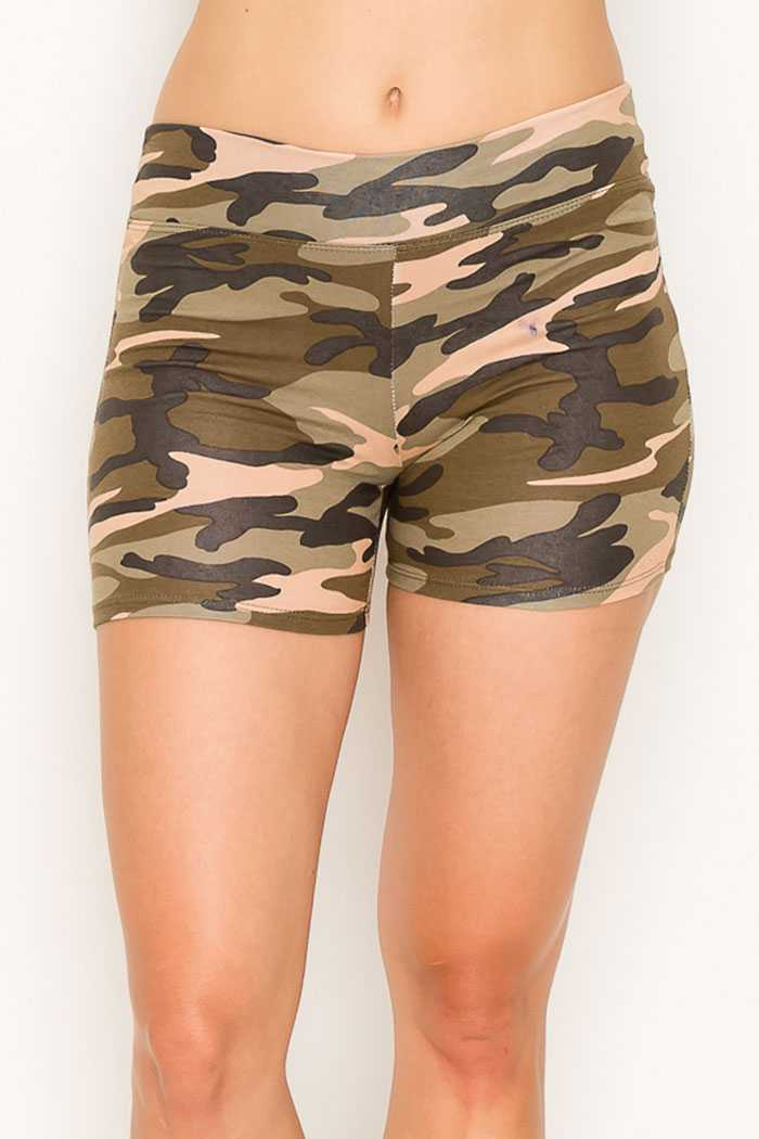 Camouflage print cotton jersey wide waist band shorts