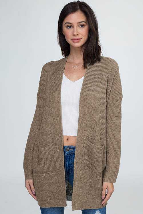 SOLID OPEN SWEATER CARDIGAN WITH POCKET