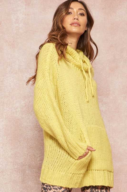 Oversized Knit Hoodie Sweater with Kangaroo Pocket