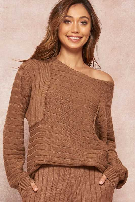 Oversized Ribbed Knit Boatneck Raglan Sweater