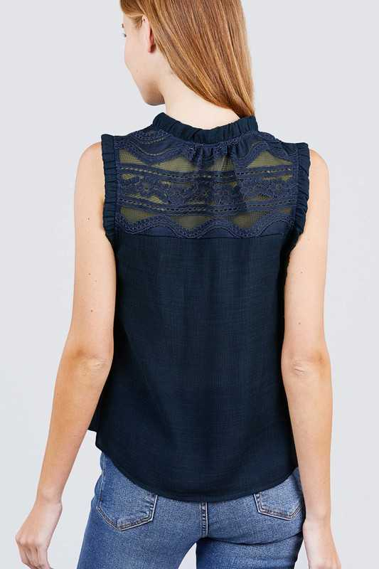 RUFFLE SLEEVE BUTTON DOWN LACE YOKE TOP