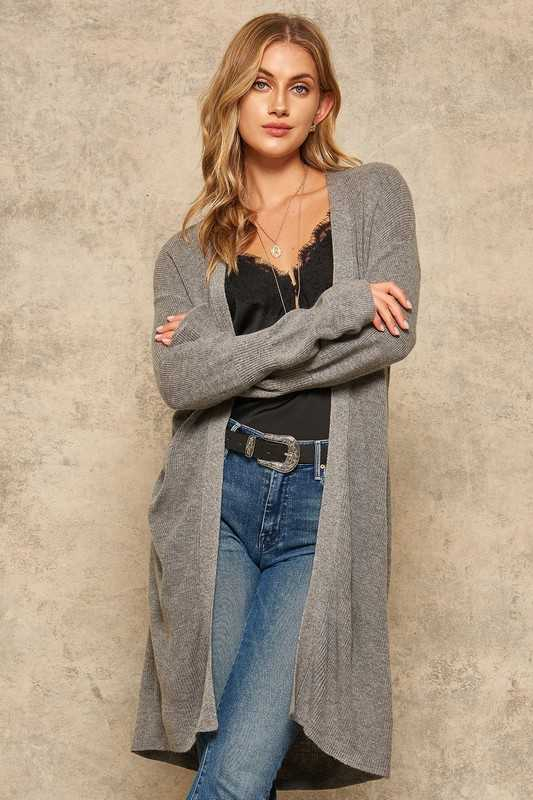 Ribbed Knit Trumpet-Sleeve Open-Front Cardigan