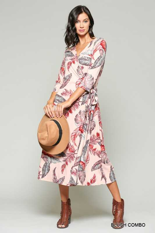 Feather Printed Wrap Midi Dress