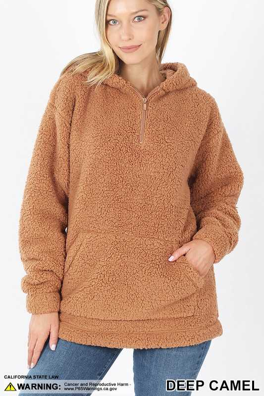 SOFT SHERPA HALF ZIP HOODIE WITH KANGAROO POCKET