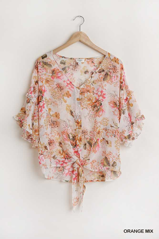 Sheer Floral Print Button Down Top