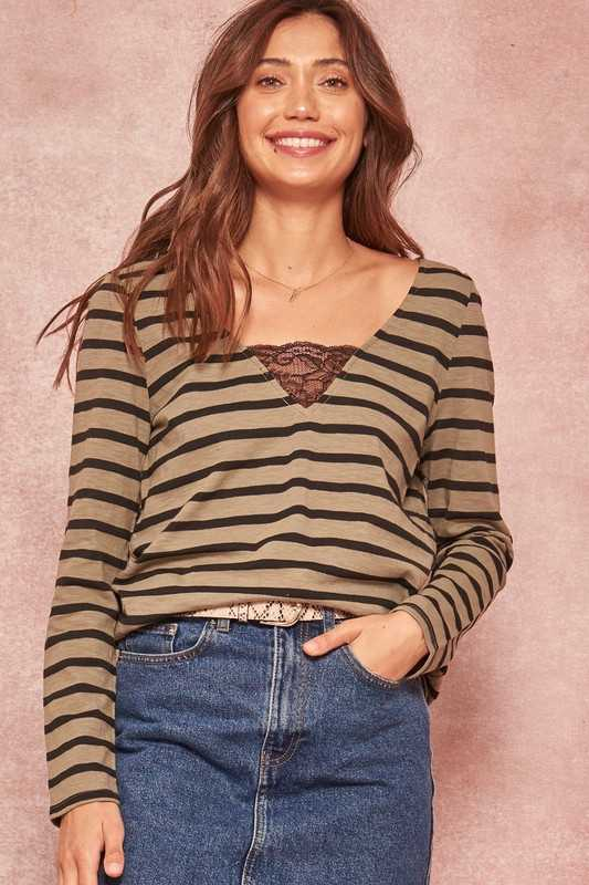 Striped Lace-Trimmed Long-Sleeve V-Neck Knit Top