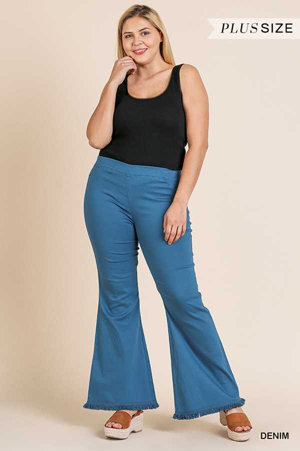 SOLID STRETCH WIDE FLARE LAG PANTS