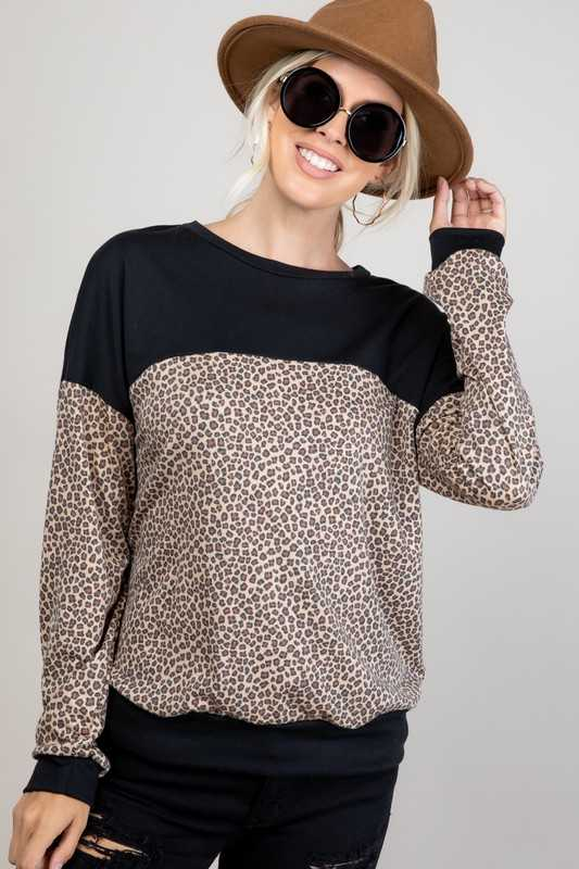 TERRY ANIMAL SOLID MIXED ROUND NECK SWEATSHIRT TOP