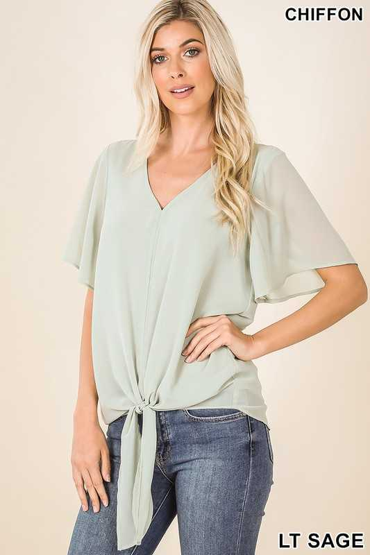 WOVEN DOUBLE LAYER CHIFFON FRONT TIE TOP