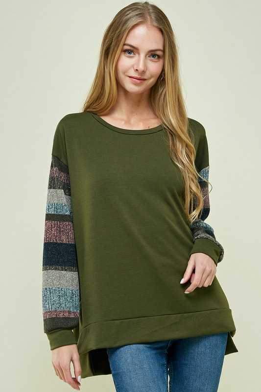 MULTI COLOR BLOCK SLEEVE ROUND NECK TOP