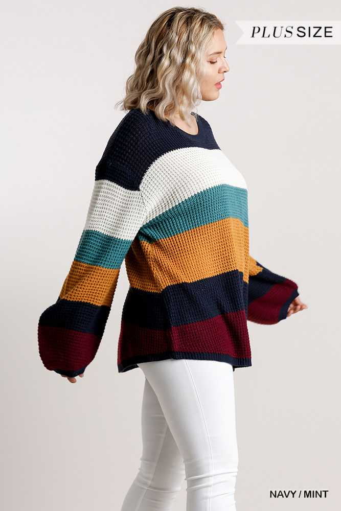 Multicolored Striped Long Sleeve Knit Pullover Sweater