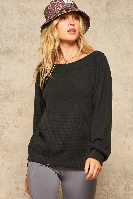 Brushed Waffle Knit Kangaroo Pocket V-Back Top