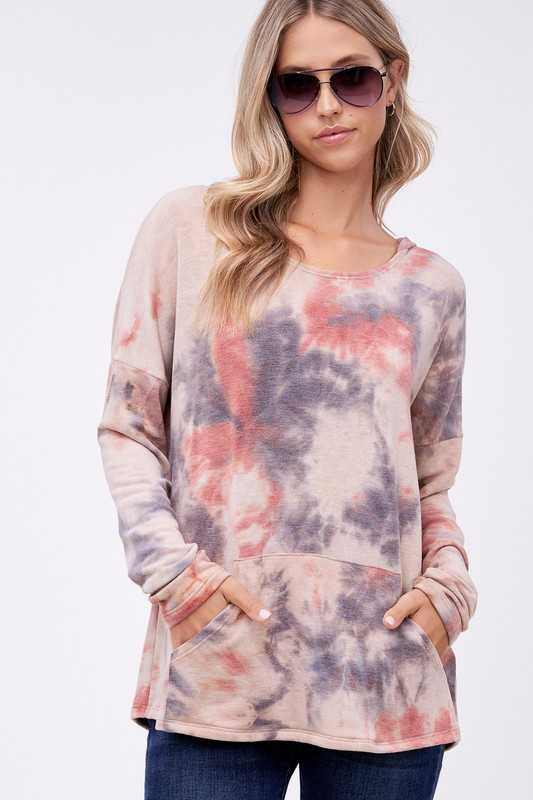 TIE DYE TERRY FRONT POCKET V NECK HOODIE TOP