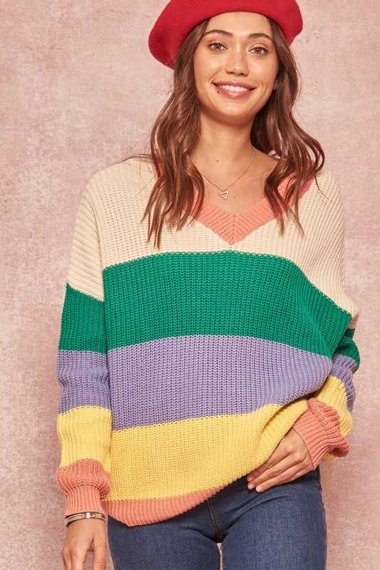 Colorblock V-Neck Sweater with Keyhole Back