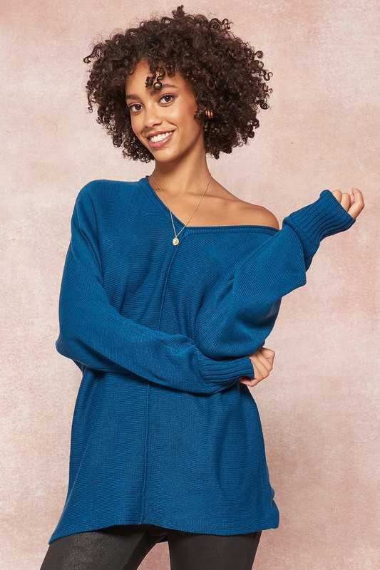 Exposed Seam V-Neck Knit Dolman Sweater