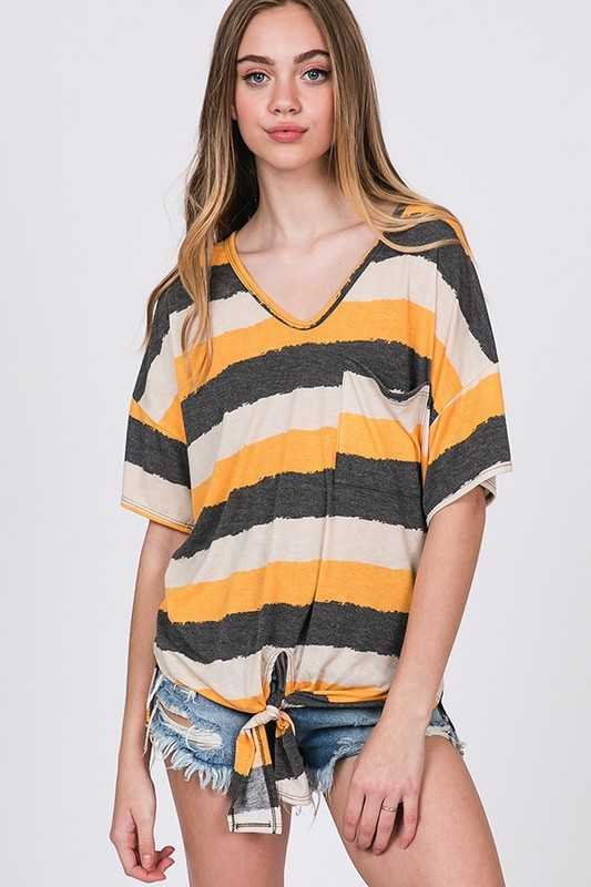 Stripes V-Neck Front Tie Top