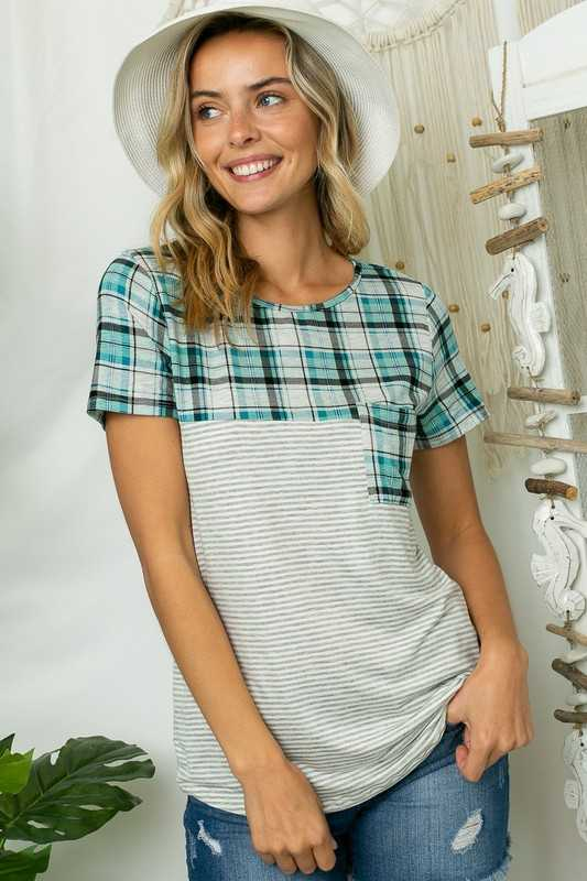 PIN STRIPE PLAID MIXED FRONT POCKET ROUND NECK TOP