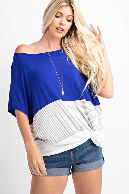 Color Block Poncho Silhouette Knit Top