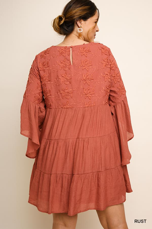 PLUS EMBROIDERY TIER FLARING DRESS