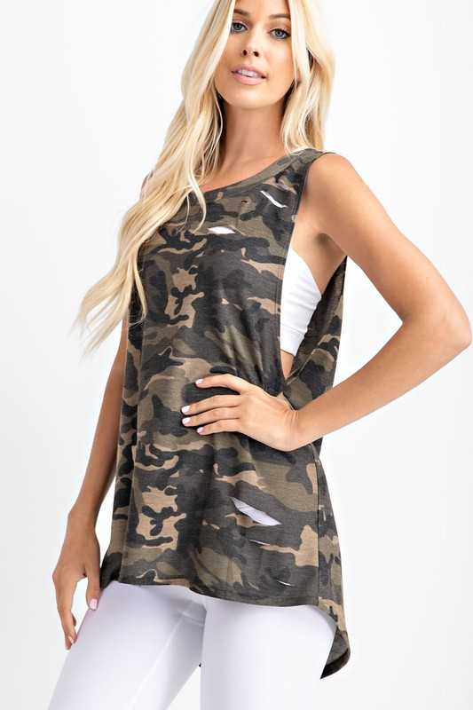 Camo printed laser cut knit Top