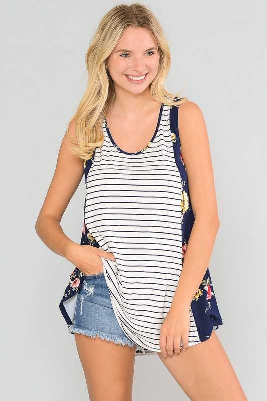 FLORAL SIDE CONTRAST STRIPED SLEEVELESS TUNIC