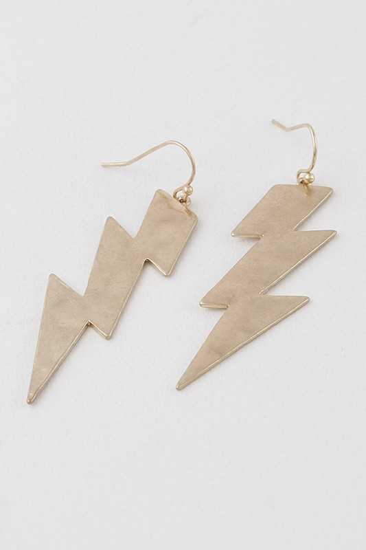 Matte Thunderbolt Drop Earrings