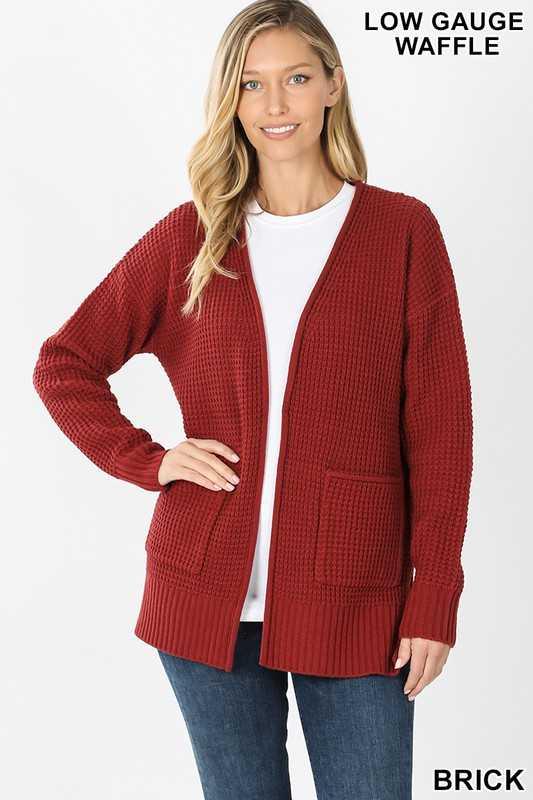 LOW GAUGE WAFFLE OPEN CARDIGAN SWEATER