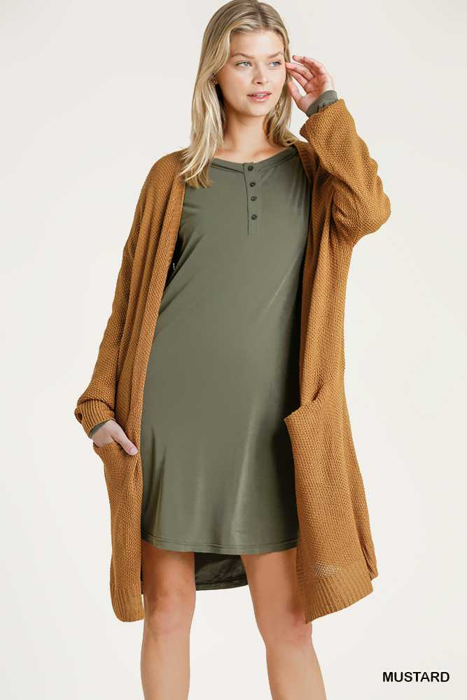 Open Front Long Sleeve Knit Cardigan