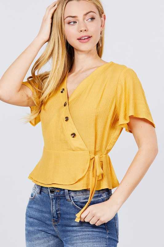 RIBBON TIE BACK SHIRRING WOVEN TOP
